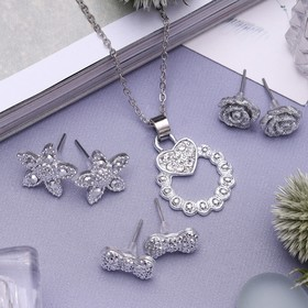 Гарнитур 4 предмета: серьги (3 пары), кулон 'Цветочный набор', цвет белый в серебре, 45 см Ош