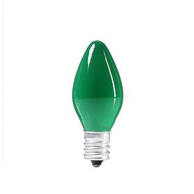 Лампочка накаливания E12, 10W, для ночников и гирлянд, матовая зеленая, 220 В