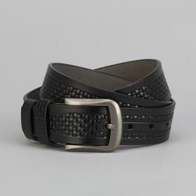 Ремень мужской, пряжка металл, ширина - 4 см, цвет чёрный
