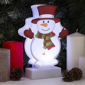 "Картинка световая на подставке ""Снеговик"", SMD 2835, АА*3 (не в компл.), 8 LED"