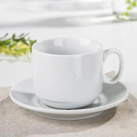 """Чайная пара """"Экспресс"""": чашка чайная 220 мл, блюдце чайное 14 см, цвет белый"""