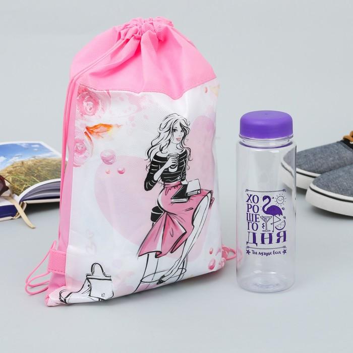 """Мешок для обуви и бутылка для воды """"Стиль в твоей жизни"""""""