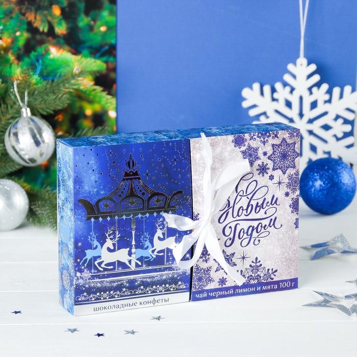 """Набор чай чёрный 100 г и конфеты в коробке с раздвижной крышкой """"С новым годом"""""""