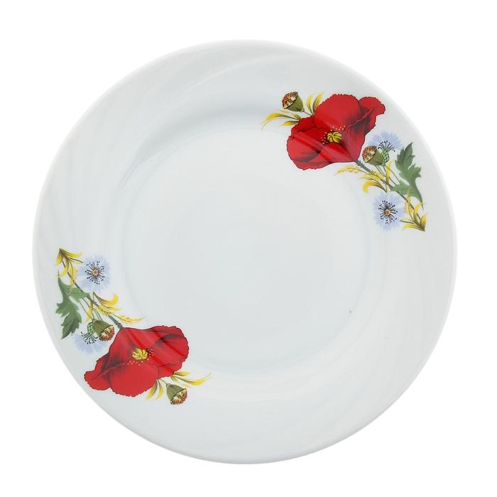"""Тарелка мелкая 17,5 см """"Маки красные"""""""