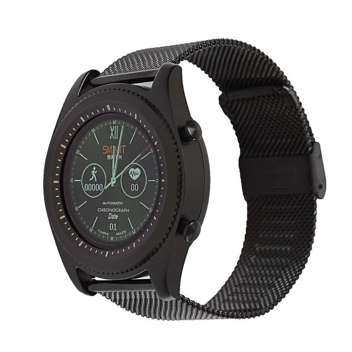 Часы умные NO.1 S9 черные, ремешок сталь