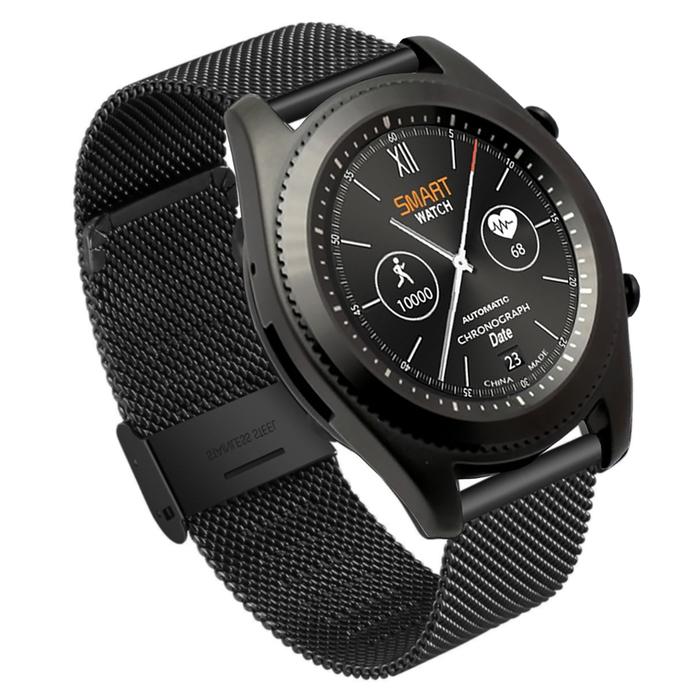 """Смарт-часы NO.1 S9, цветной дисплей 1.3"""", стальной ремешок, чёрные"""