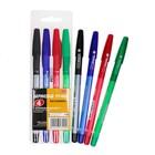 Набор ручек шариковых 4 штуки BEIFA, узел 0.7мм, чернила синие, трехгранный корпус, металлический наконечник, резиновый упор, европодвес