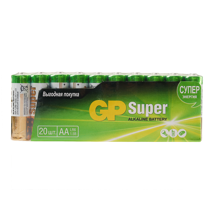 Батарейка алкалиновая GP Super, LR6-20S, АА, 1.5В, спайка, 20 шт.