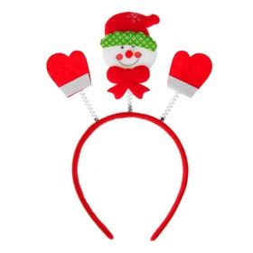 Карнавальный ободок «Снеговик», цвет красный