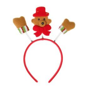 Карнавальный ободок «Мишка», цвет красный