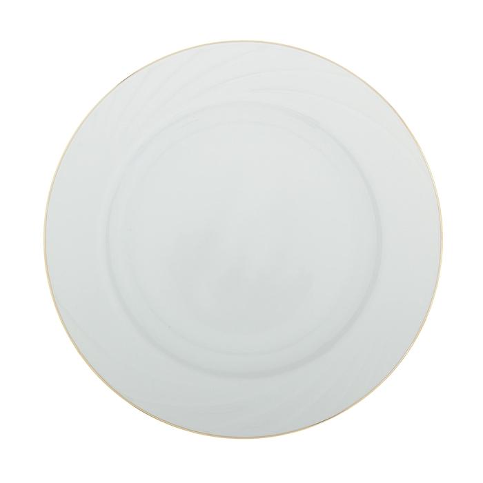 """Тарелка мелкая 20 см """"Белье"""" заводной край золотом"""