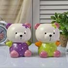 "Ceramic piggy Bank ""Bear in jumpsuit in peas"" MIX 15х11х10 cm"