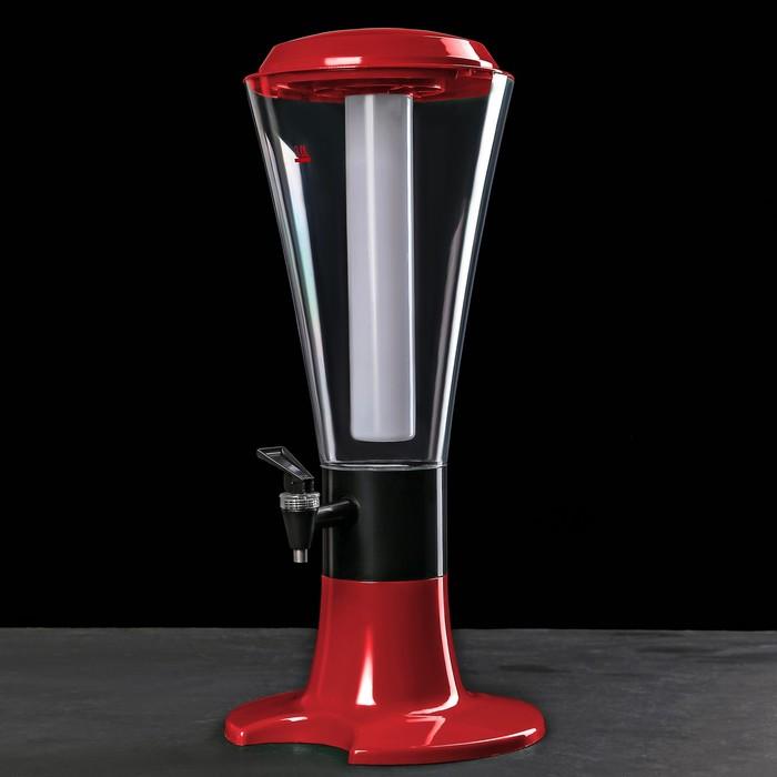 Башня пивная 3 л Grand, колба с подсветкой, 3 батарейки, цвет красный