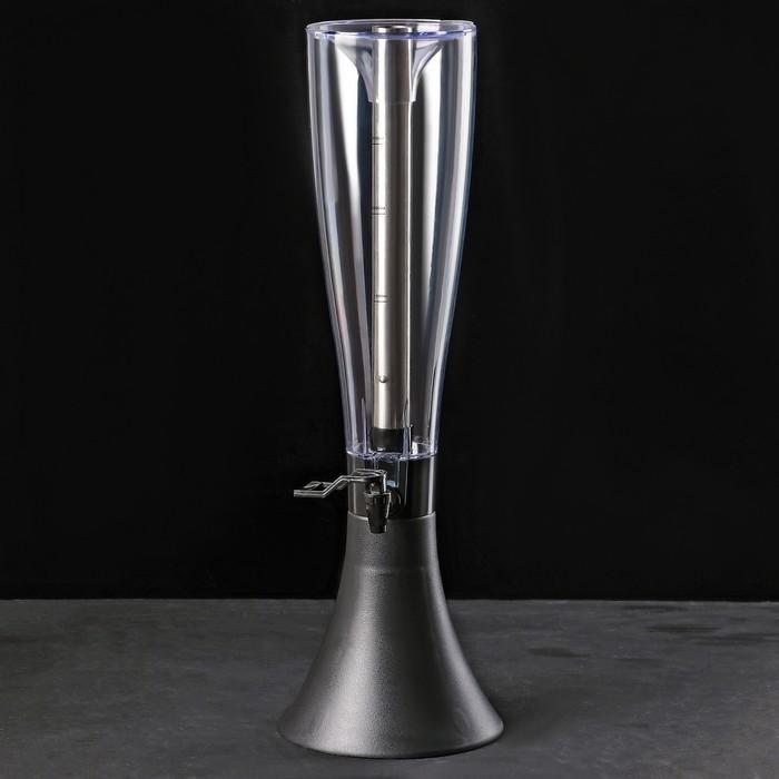 Башня пивная 4 л Premium, металлическая колба, цвет черный
