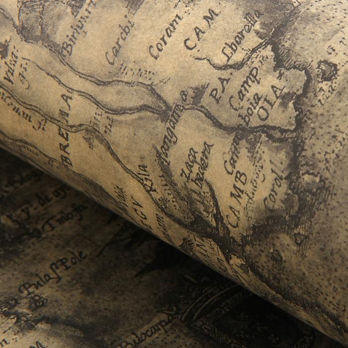 "Бумага упаковочная ""Карта"", тёмно-серый, 52 х 75 см"