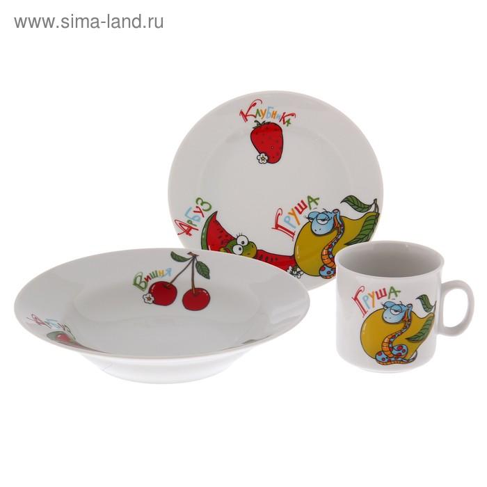 """Набор посуды """"Поиграем"""", 3 предмета: кружка 200 мл, тарелка d=17 см, тарелка глубокая 230 мл d=20 см, деколь без отводки"""