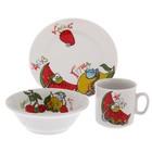 """Набор посуды """"Поиграем"""", 3 предмета: кружка 200 мл, салатник 360 мл, тарелка мелкая d=17 см"""