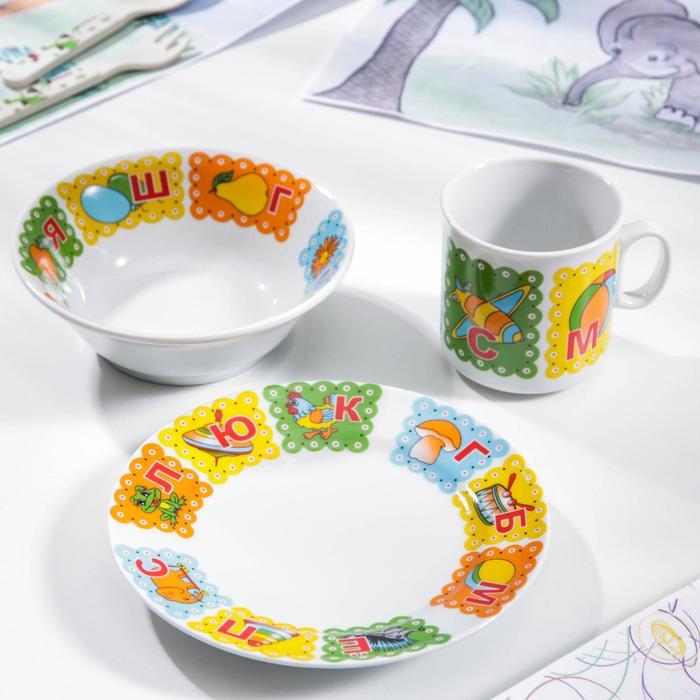 Набор посуды «Азбука», 3 предмета: кружка 200 мл, салатник 360 мл, тарелка мелкая 17 см