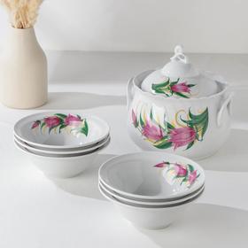 Набор для пельменей «Колокольчики», 7 предметов: ваза для супа 2,2 л, 6 мисок 600 мл