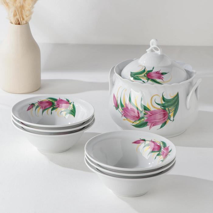 """Набор для пельменей """"Колокольчики"""", 7 предметов: ваза для супа 2,2 л, 6 мисок 600 мл"""