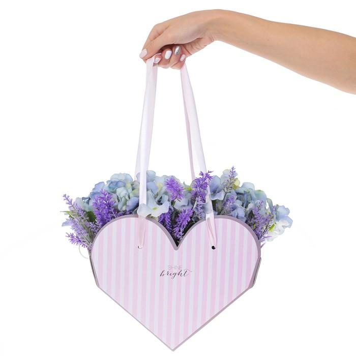 Коробка-сердце складная с лентами «Сияй!», 25 × 20 × 11 см