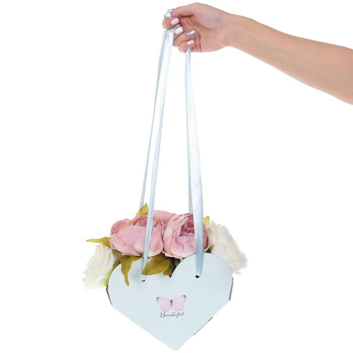 Коробка-сердце складная с лентами «Самой прекрасной», 20 × 16 × 9 см