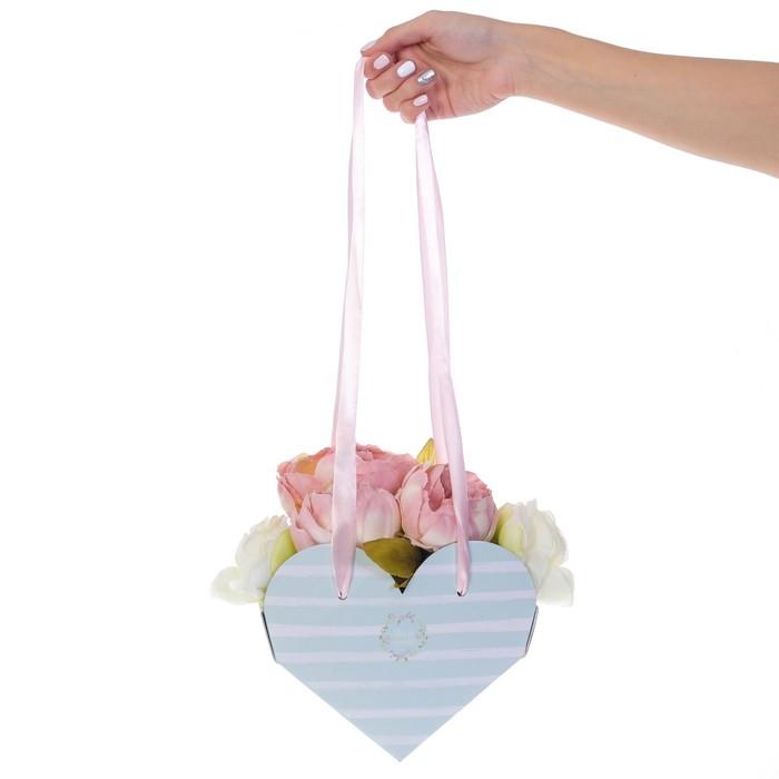 Коробка-сердце складная с лентами «Для тебя», 20 × 16 × 9 см