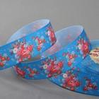 Лента репсовая «Цветы», 25мм, 18±1м, цвет синий