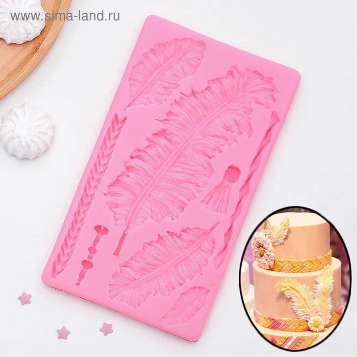 Молд силиконовый «Перья», 20×11,5×1 см, профессиональный, цвет МИКС