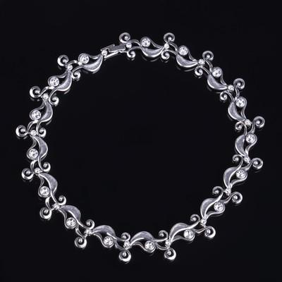 """Ожерелье """"Трезини"""", цвет белый в чернёном серебре"""