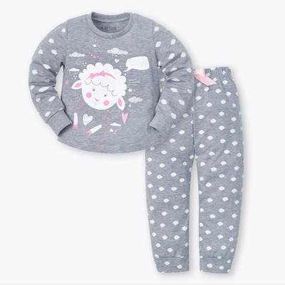 """Пижама для девочки (брюки и джемпер) """"Барашек"""", меланж, р-р 30 (98-104 см) 3-4 г, 95% хл, 5% эл"""
