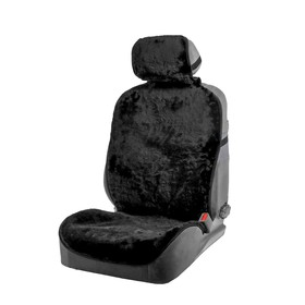 Seat cover, natural wool,145 x 55 cm, black