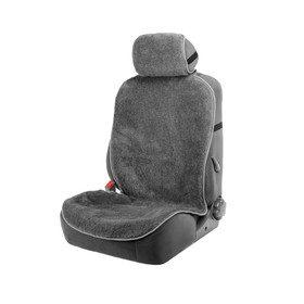 Seat cover, natural wool,145 x 55 cm, grey