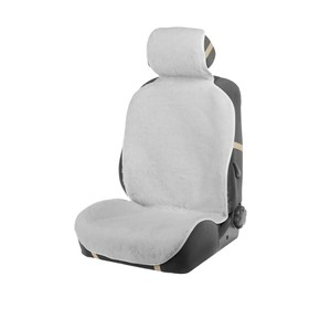 Seat cover, natural wool,145 x 55 cm, white