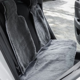 Capes in the back seat, natural wool, 135 x 55 75 x 55 cm, grey, set of 3 PCs