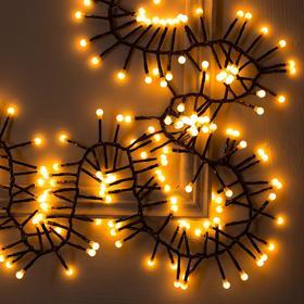 """Гирлянда """"Нить"""" уличная, УМС, мишура шарики 4 м LED-400-31V 8 режимов, нить тёмная, свечение жёлтое"""