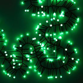 """Гирлянда """"Нить"""" уличная, УМС, мишура шарики 4 м LED-400-31V 8 режимов, нить тёмная, свечение зелёное"""