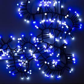 """Гирлянда """"Нить"""" уличная, УМС, мишура шарики 4 м LED-400-31V 8 режимов, нить тёмная, свечение бело-синее"""