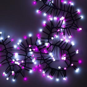 """Гирлянда """"Нить"""" уличная, УМС, мишура шарики 4 м LED-400-31V 8 режимов, нить тёмная, свечение бело-розовое"""