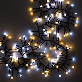 """Гирлянда """"Нить"""" уличная, УМС, мишура шарики 4 м LED-400-31V 8 режимов, нить тёмная, свечение тёплое белое/белое"""