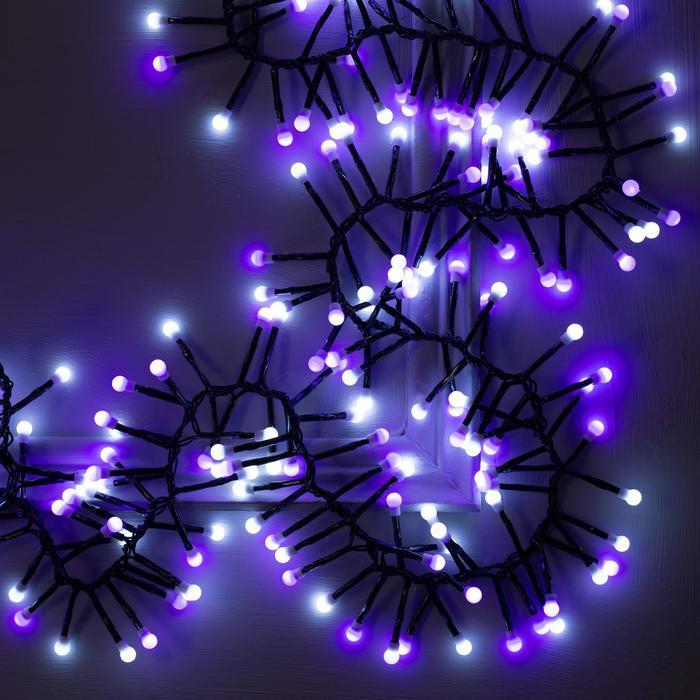 """Гирлянда """"Нить"""" уличная, УМС, мишура шарики 4 м LED-400-31V 8 режимов, нить тёмная, свечение бело-фиолетовое"""