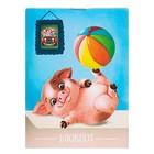 """Блокнот А7, 40 листов на скрепке Calligrata """"Свинка с мячом"""", обложка картон хром-эрзац"""