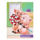 """Блокнот А7, 40 листов на скрепке Calligrata """"Свинки с конфеткой"""", обложка картон хром-эрзац"""