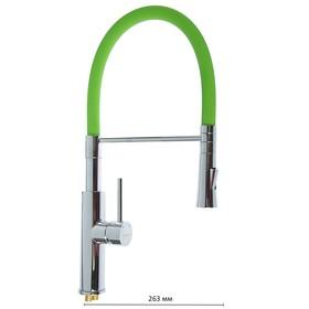 Смеситель для кухни Accoona A4890K-1, однорычажный, латунь, зеленый/хром