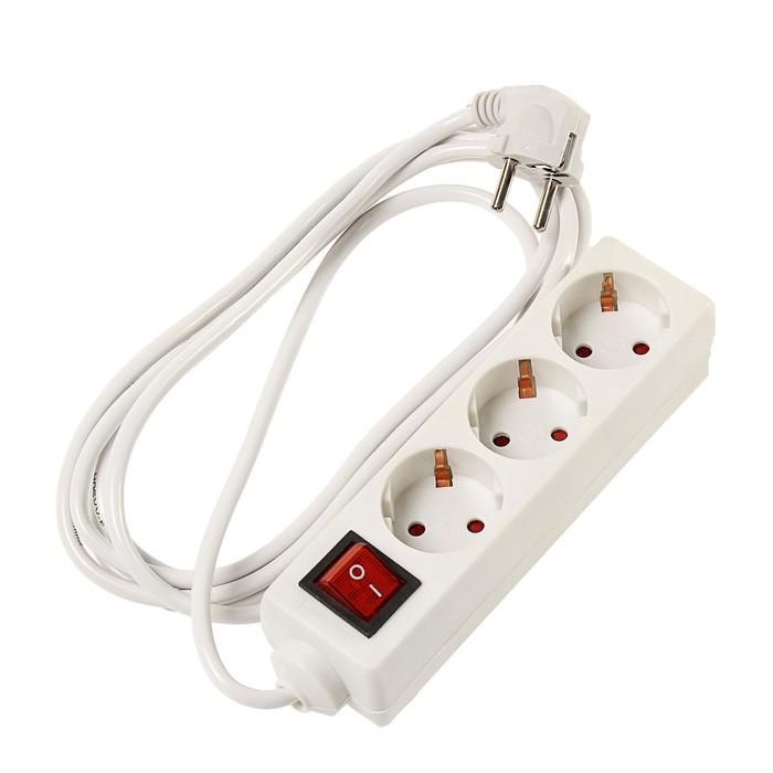 Удлинитель Uniel, 3 розетки, 2 м, 6 А, с заземлением, с выключателем, ПВС 3х0.75, белый