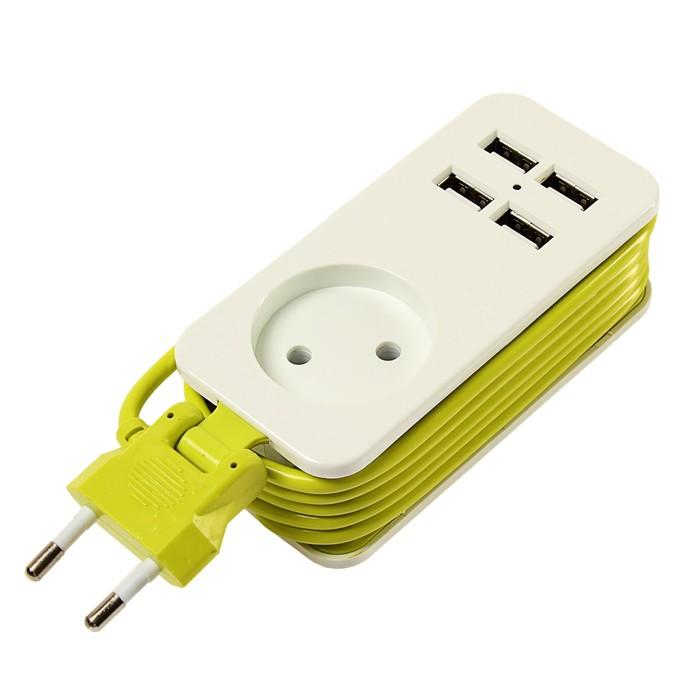 Удлинитель Uniel серии Travel, шнур 1.5 м, 1 гнездо, без з/к, 4 USB (2.1 A), S-CT1-1,5U