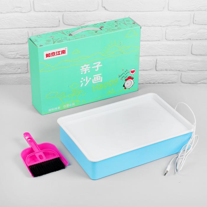 Планшет для рисования песком, совочек и метелочка, работает от USB, цвет голубой