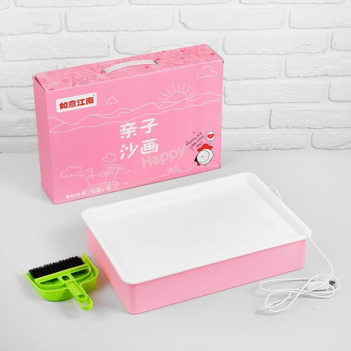 Планшет для рисования песком, совочек и метелочка, работает от USB, цвет розовый