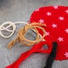 """Новогодняя ёлочная игрушка, Набор для создания подвески из ткани """"Олень с бубенчиками"""",цвет красный"""