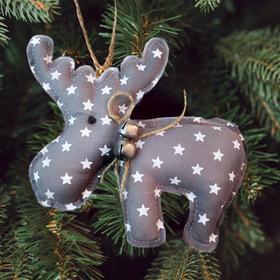 Новогодняя ёлочная игрушка, Набор для создания подвески из ткани «Олень с бубенчиками», цвет серый